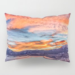 Sunset Pano // Beautiful Rocky Mountain Lake View Colorado Red Orange Sky Pillow Sham
