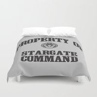 stargate Duvet Covers featuring Property of Stargate Command Athletic Wear Black ink by RockatemanDesigns