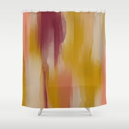 Mustard Cherry Blush Watercolor Fall Abstract Shower Curtain