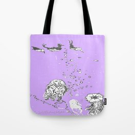 Two Tailed Duck and Jellyfish Purple Grape Tote Bag