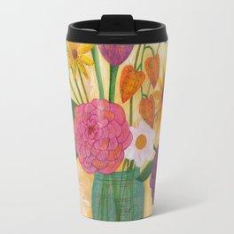 blue jar of flowers Travel Mug