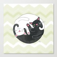 philosophy Canvas Prints featuring Cat Philosophy by Emily Andrus Lopuch