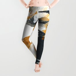 black gold abstract painting Leggings