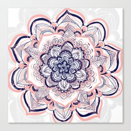 Woven Dream - Mandala in Pink, White and deep Purple Canvas Print