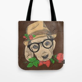 Cute Hipster Pup Tote Bag