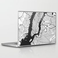 new york map Laptop & iPad Skins featuring New York Map Gray by City Art Posters