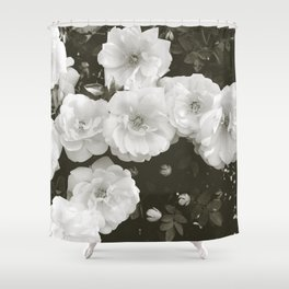 Floral in Black and White Shower Curtain