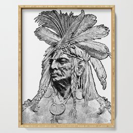 Chief / Vintage illustration redrawn and repurposed Serving Tray
