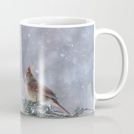 Cardinals Jostling on a Branch in a Snow Storm Coffee Mug