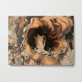 Old Brown Marble texture acrylic Liquid paint art Metal Print