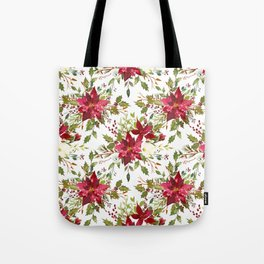 Watercolor pink green hand painted floral berries Tote Bag
