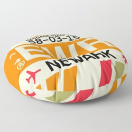 EWR Newark • Airport Code and Vintage Baggage Tag Design Floor Pillow
