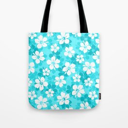 Tropical Blue White Hibiscus Flowers Pattern Tote Bag