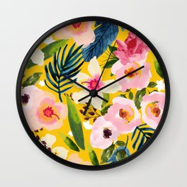 No Winter Lasts Forever; No Spring Skips It's Turn #painting #botanical Wall Clock