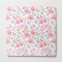 Vintage pink coral pastel green elegant chic floral Metal Print