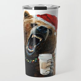 Grizzly Mornings Christmas Travel Mug