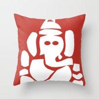 hindu Throw Pillows featuring Ganesh - Hindu God by ialbert
