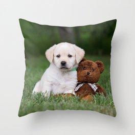 Puppy & Teddy Throw Pillow