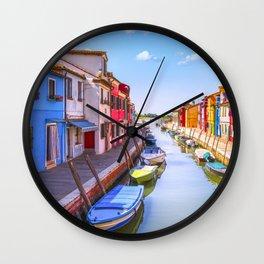 Burano curved canal, Venice lagoon. Wall Clock