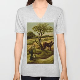 Classical Masterpiece 'Noon Time' Old West Harvest Time portrait painting by Thomas Hart Benton Unisex V-Neck