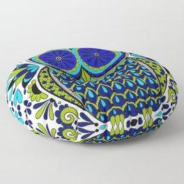 Blue Green Owl Mandala Floor Pillow