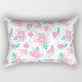 Florals bright modern color palette nursery home decor flower bouquet pattern Rectangular Pillow