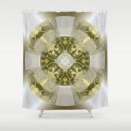 Microchip Mandala in Gold Shower Curtain