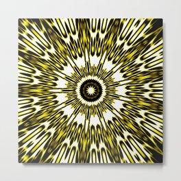 Yellow White Black Sun Explosion Metal Print