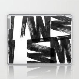Black ink brush strokes abstract painting Laptop & iPad Skin