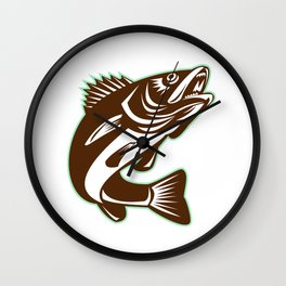 Walleye Fish Jumping Isolated Retro Wall Clock