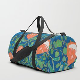 Coral Proteas on Blue Pattern Painting Duffle Bag