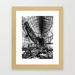 Airship under construction Framed Art Print