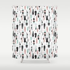 Geometric pastel birds feathers illustration pattern Shower Curtain