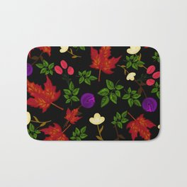 Purple and white flowers with green leaves on a black background.  Bath Mat