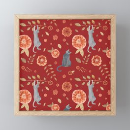 IT'S A CATS' WORLD! Burgundy Red Palette Framed Mini Art Print