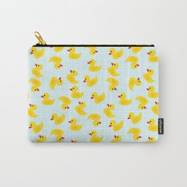 Cute Rubber Duck on Blue Background Carry-All Pouch