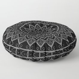 Black and White Lace Mandala Floor Pillow