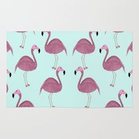 flamingo Area & Throw Rugs featuring Flamingo by Frida Strömshed