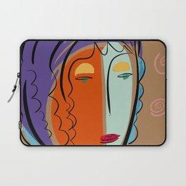 Minimal Expressionist Portrait Orange and Blue Laptop Sleeve