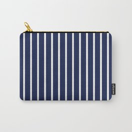 Navy Blue and White Vertical Stripes Pattern Carry-All Pouch