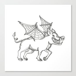 Winged Wild Boar Doodle Art Canvas Print