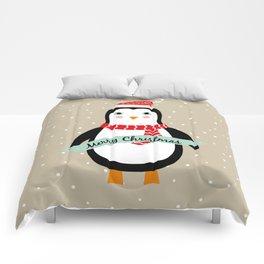 "Cute Penguin wishes ""Merry Christmas"" - X-mas Christmas Winter Design Comforters"
