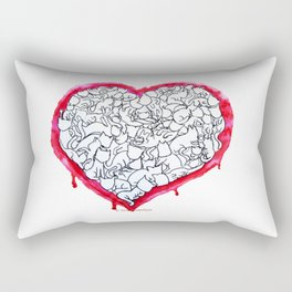 Cats Heart Rectangular Pillow
