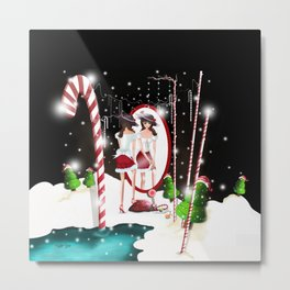 Ms. Santa's Whispering Candy Cane Metal Print