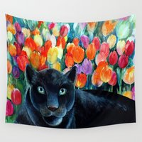 panther Wall Tapestries featuring Black Panther  by oxana zaika