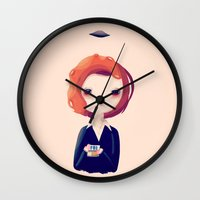 dana scully Wall Clocks featuring Dana by Nan Lawson