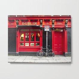 Red Dublin Pub Metal Print