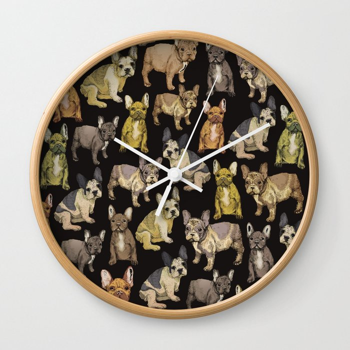 french bulldog black Wall Clock