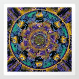 Purple Gold Dream Catcher Mandala Art Print