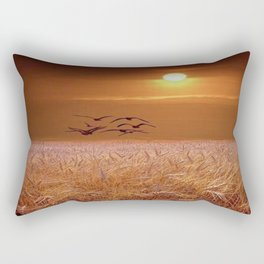 bird and yellow Rectangular Pillow